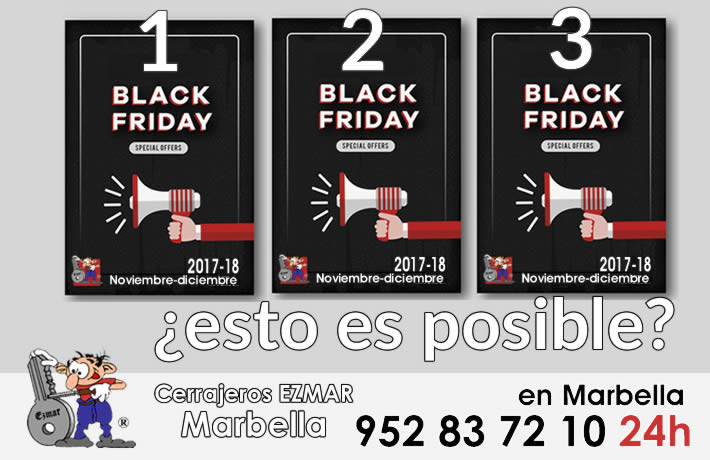 Black Friday copias llaves coche, mirillas, controles de accesos cerrajeros Marbella Ezmar